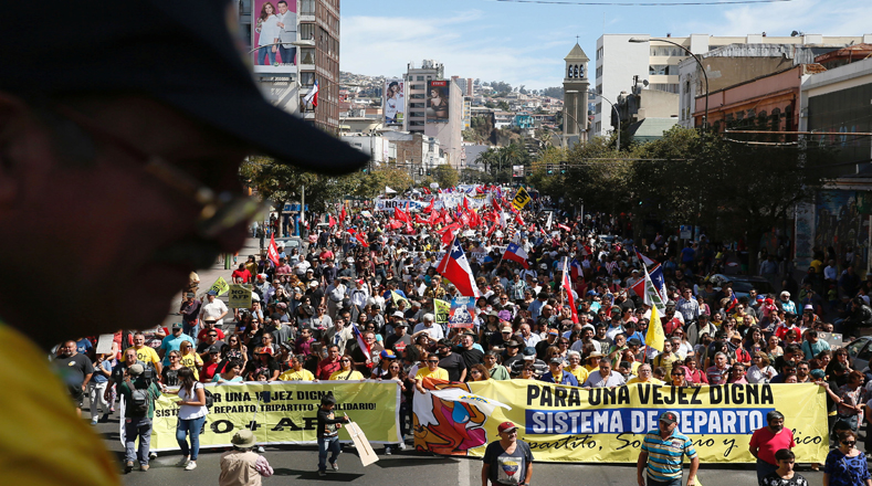 Demonstrators take part in a protest against national pension system, in Valparaiso